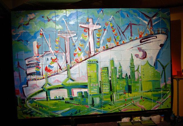 Gemälde zum Messeabend inHamburg auf der Cap San Diego